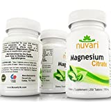 MAGNESIUM CITRATE - 250 Small 100mg Tablets - includes FREE DOSAGE GUIDE. Highly Absorbable Supplement. Helps with Sleep, Anxiety, Migraines, and Leg Cramps.* Satisfaction Guaranteed.