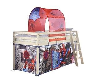 Cabin Bed with Spiderman in Whitewash with Mattress 578WW-SPIDERMAN+MATTRESS