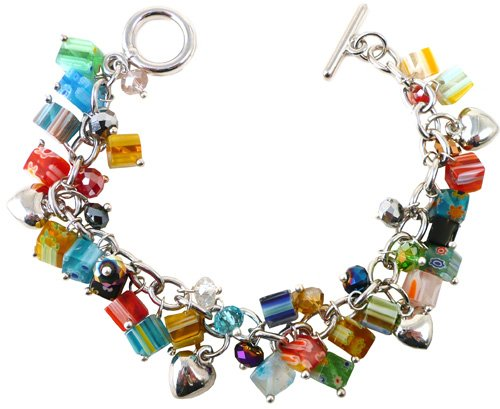 Rainbow Millefiori Square Glass Beads, Coloured Crystals & Stones & Silver Charm Bracelet