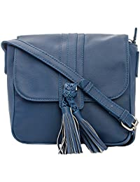 Front Tussle Smart Casual Sling Bag In Blue