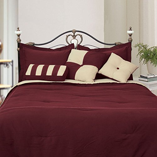 Microfiber Full Comforter Set, Burgundy / Khaki (Lcm Home Fashions Inc compare prices)