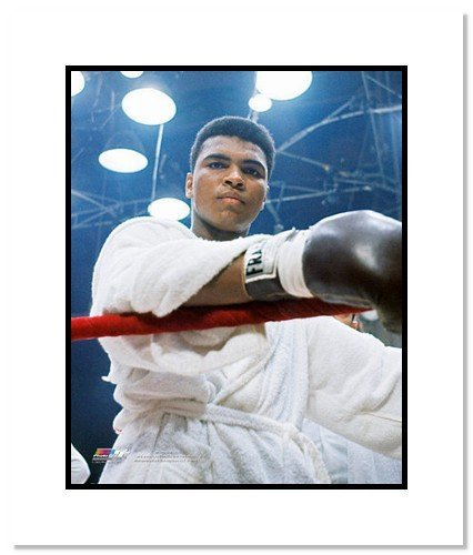 All About Autographs AAA-11563m Muhammad Ali Boxing Double Matted 8x10 Photograph Robe Close Up