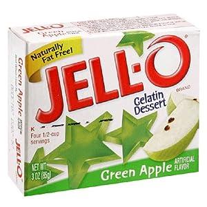 Jell-O Gelatin Dessert, Green Apple, 3-Ounce Boxes (Pack of 24)