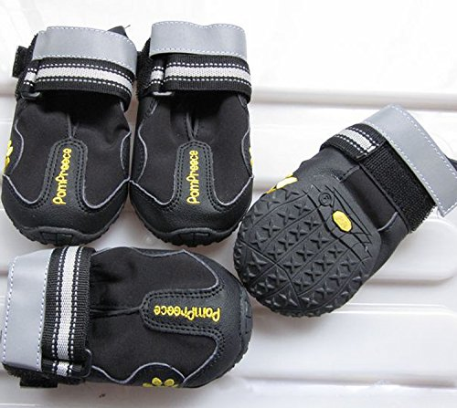 Colorfulhouse Waterproof Pet Boots for Medium to Large Dogs Labrador Husky Shoes 4 Pcs (Black, 8 (3.3