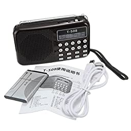 CAMTOA Pro T508 Mini LED Stereo FM Radio Speaker USB TF Micro SD Card MP3 Music Player Black