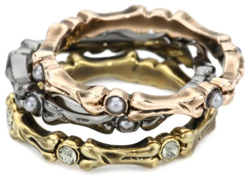 House of Harlow 1960 Bone Stack Ring Set, Size 8
