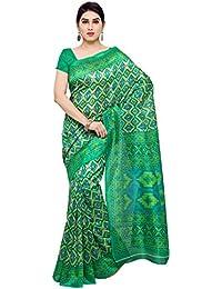 Oomph! Bhagalpuri Silk Geometric Printed Saree - Emerald Green