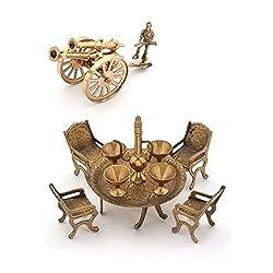 Shopnetix Combo of Brass Dining Raja Set and Brass Canon