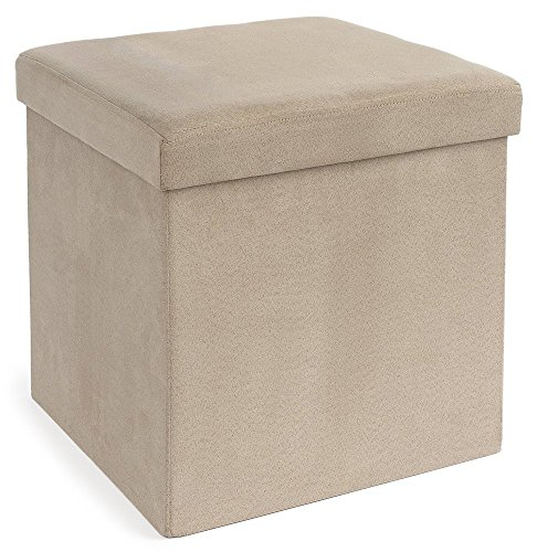 fhe group microsuede folding storage ottoman 15 by 15 by
