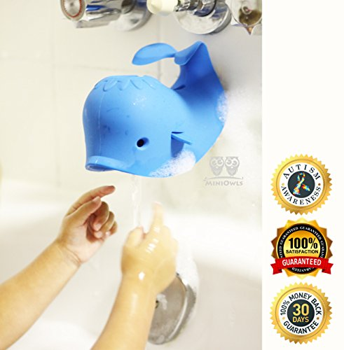 MiniOwls BATHTUB SPOUT COVER – SAFETY GUARD, Blue Whale that Fits Most of the Faucet – 3% is donated to Autism Foundation.