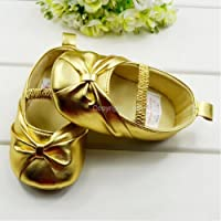 Soft Sole Toddler Baby Girls Bow Princess Dress Sandals Shoes (3-9 months, Gold)