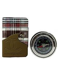 Apki Needs Long Tan Mens Wallet & Beautiful Compass Combo