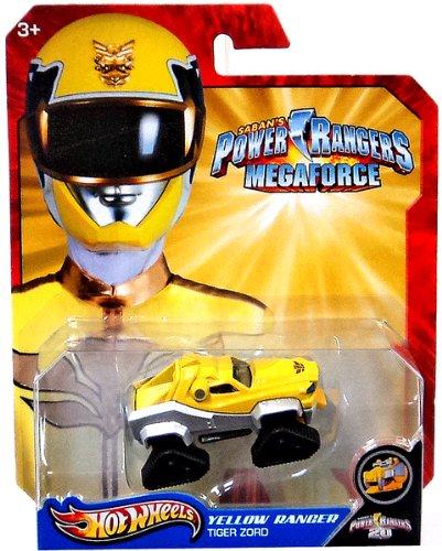 Hot Wheels Power Rangers Megaforce 1:50 Die Cast Car Yellow Ranger Tiger Zord - 1