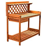 Wood Potting Bench Garden Outdoor Work Bench Table Planting Bench