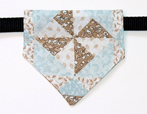 Over The Collar, Reversible Dog Bandana, Blue And Brown Leaves, Quilt Pattern, Bell Art Designs, Extra Small, Dcxs0019