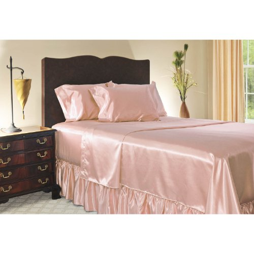 Luxury Full Size Satin Fitted Sheet - Pink front-963975