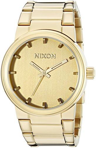 Nixon Cannon  All Gold Polished - Reloj de cuarzo para hombre, correa de acero inoxidable color dorado