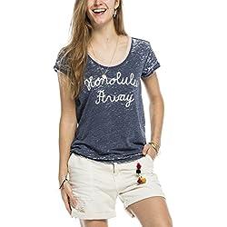 Maison Scotch Damen T-Shirt 16210251741, Gr. 42 (Herstellergröße: 4), Blau (storm blue 94)