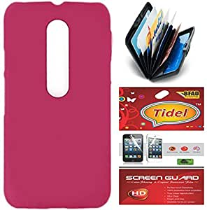Tidel Pink Ultra Thin and Stylish Rubberized Back Cover For Motorola Moto X PLAY With Credit Card Holder and screen guard