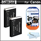 2 Pack Battery Kit For Canon PowerShot SX260 HS, SX260HS, Canon PowerShot SX280 HS, SX280HS, SX500 IS, SX500IS Digital Camera Includes 2 Extended Replacement (1200Mah) NB-6L Batteries + LCD Screen Protectors + MicroFiber Cleaning Cloth
