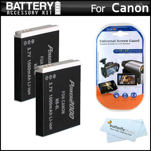 2 Pack Battery Kit For Canon Powershot Sx260 Hs Sx260hs