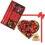 Skylofts 9pc Heart Shaped Chocolate Box With A Cute Teddy & A Beautiful Candle Diya Set Diwali Combo