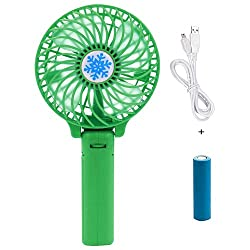 Casotec Portable Mini USB Fan Rechargeable Personal Handheld Fan Foldable Battery Operated / USB Powered for Home and Office - Green