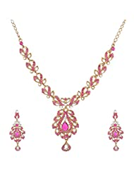 I Jewels Traditional Gold Plated Kundan Necklace Set With Maang Tikka For Women (Rani) (L3098Q)