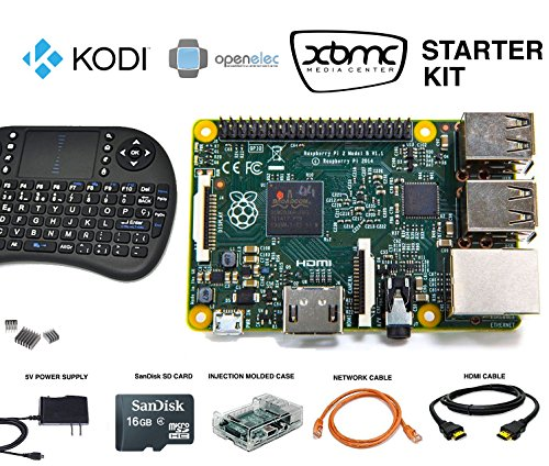Raspberry Pi 3 Starter Kit - Latest Version Raspberry Pi with Pre-Loaded 16GB SD Card includes NOOBS, Windows 10, Kodi and more - Clear Case with GPIO Support - Power Supply - HDMI Cable - Wifi (Wifi Remote Starter compare prices)