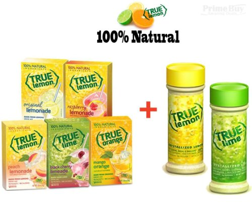 True Lemon Assorted Beverage Pack: (5 Boxes 10Ct) With Bonus Lemon & Lime Shaker. True Lemon Original Lemonade, True Peach Lemonade, True Black Cherry Limeade, True Mango Orange And True Raspberry Lemonade. Assorted Sugar Free Diet True Lemonade Drink Mix