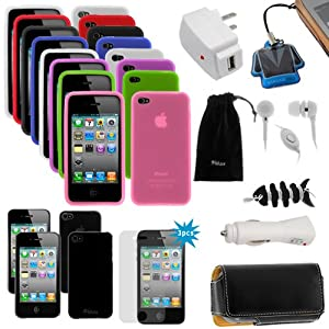 GTMax 20 Items Essential Accessories Bundle kit for AT&T/ Verizon /Sprint Apple Iphone 4S 4th 4G