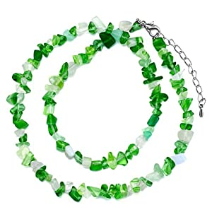 Pugster Genuine Green White Charm Gemstone Nugget Chips Stretch Pendant Necklace For Women