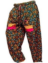 Rajsthani Mandala Hand Block Print Peacock Alibaba Afghani Trouser - B06XVHX5FY