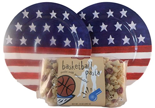 American Pride Pasta Bundle of 2 Items: 1 14 Oz Bag Shaped Pasta & 2 Melamine Plates (Basketball) (Basketball Pasta compare prices)