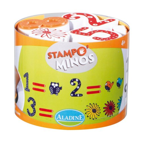 Aladine Stampominos Numbers Rubber Stamps, Set of 18 Plus 1 Extra Large Ink Pad - 1