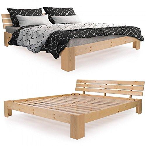 Homelux-Massivholzbett-Kiefer-Doppelbett-Balkenbett-Bettgestell-Bettrahmen-Lattenrost-180-x-200-cm-Natur