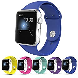 Apple Watch Band,Teslasz Soft Silicone Replacement Sport Wristbands Straps for Apple Watch (Royal blue 38 MM)