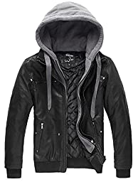 Wantdo Men\'s Pu Leather Jacket with Removable Hood US X-Large Black(Heavy)