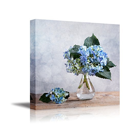 Canvas Wall Art - Still Life With Blue Hortensia Flowers In Glass Vase | Modern Home Decor Canvas Prints Giclee Printing Wrapped & Ready To Hang - 36 X 36 By Wall26