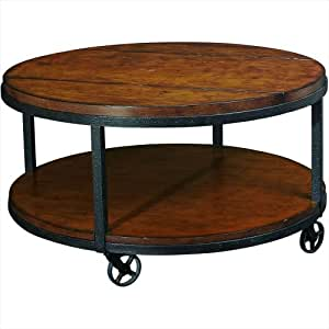 Hammary baja round cocktail table in umber for Coffee tables on amazon