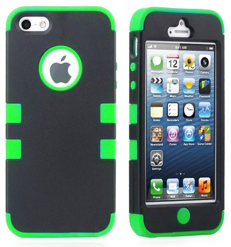 "myLife (TM) Bright Green - Black Flat Matte Series (Neo Hypergrip Flex Gel) 3 Piece Case for iPhone 5/5S (5G) 5th Generation iTouch Smartphone by Apple (External 2 Piece Fitted On Hard Rubberized Plates + Internal Soft Silicone Easy Grip Bumper Gel + Lifetime Warranty + Sealed Inside myLife Authorized Packaging) ""Attention: This case comes grip easy smooth silicone that slides in to your pock at Amazon.com"