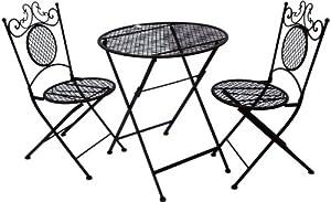 Folding Handmade 3 Pc Patio Bistro Set Black Metal Garden Furniture Round Table