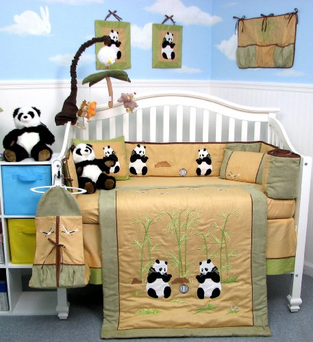 Giant Panda Bear Baby Crib Nursery Bedding Set 13 Pcs Included Diaper Bag With Changing Pad & Bottle Case