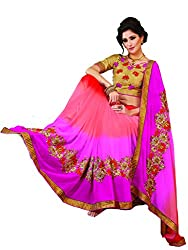 coolwomen women's georgette embroidered free size fancy saree-cw_NMPVA351_beige_free size