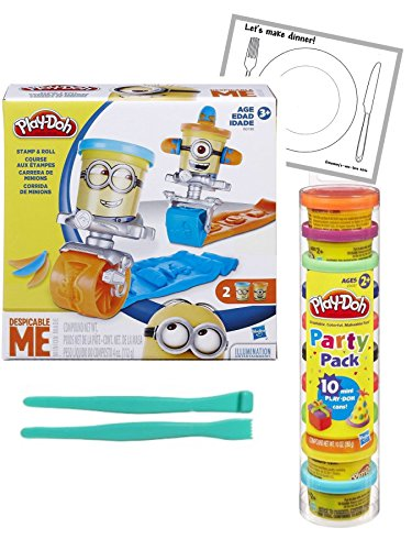 Play-Doh Featuring Despicable Me Minions Stamp and Roll Set & Play-Doh Party Pack Tube Bundle Set ~ Bonus 2pc Modelling tools & Laminated Playmat (Play Dough Despicable Me compare prices)