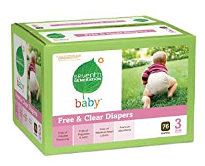 Seventh Generation Free and Clear Baby Diapers Super Jumbo Box, Stage 3, 76 Count