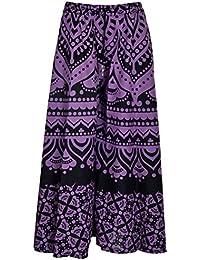 Havya Fashion Women's Cotton Jaipuri Print Plazo Palazzo (Purple With Black, 32)