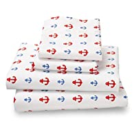Twin Nautical Anchor Amadora Double Brushed Ultra Microfiber Luxury Bed Sheet Set.