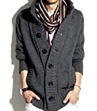 (オルル)OLULU ざっくり編みの厚手 ニットカーデ/メンズ 秋冬 ニット カーディガン