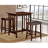 3-piece Counter-height Dining Set with saddleback stools